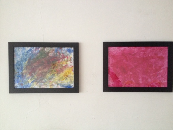 Leila's colourful finger painting and more pink